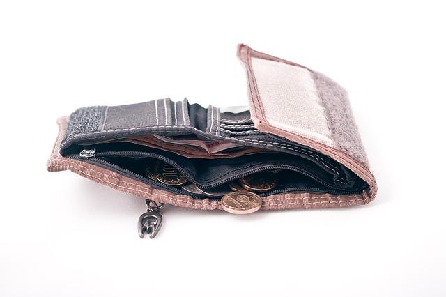 peněženka s mincemi