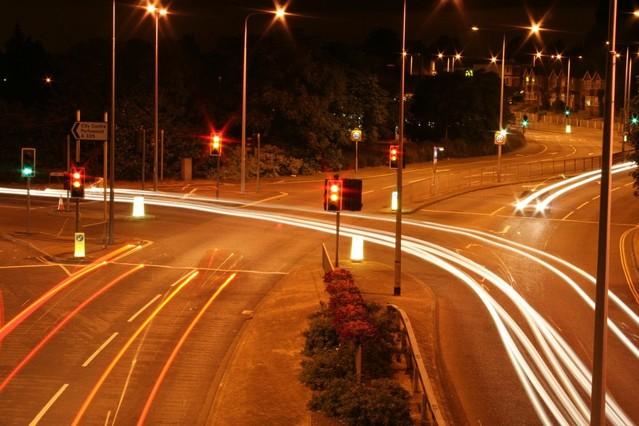 večerní silniční provoz